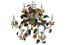 tole chandelier with fruit