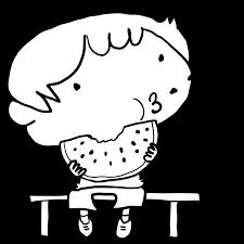 夏休み縁側に座ってスイカの種を飛ばす男の子塗り絵かわいい無料
