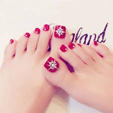 Details About 24pcs Set Rhinestone Diy False Toe Nails Full Cover Summer Nail Art Nail Tips