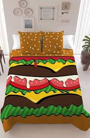 Davidelfn of Madrid brings us this delectable bedding set that includes a  printed Burger Duvet Cover with sesame seed bun pillows.