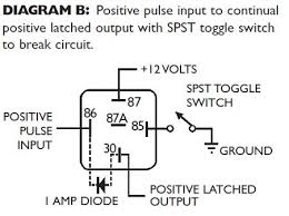 latching strobe light the diode in each of these circuits creates the latching feature of the relay the direction of the diode is determined by whether it s a positive or