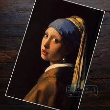 the girl with a pearl earring vermeer paintings classic version ilrations retro vintage poster home decor