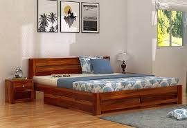 wooden furniture design bed. Denzel Double Bed With Storage Box Available Online India Wooden Furniture Design S