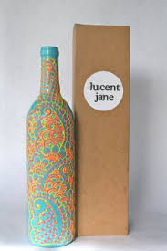 Decorative Bottles And Vases Henna Style Decorative Wine bottle Vase Sunshine Yellow Bright 2