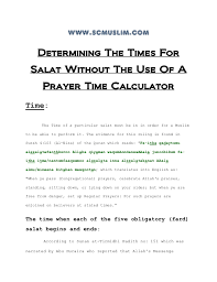 Salat Chart Determining The Times For Salat Without A Prayer Time Calculator