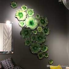 murano stained glass wall plates green lotus leaf hand blown glass art wall mounted plates hanging flower wall art plates for living room uk 2019 from