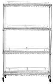 ecostorage 4 tier nsf 48 x18 x72 wire shelving rack with wheels chrome industrial shelving by trinity