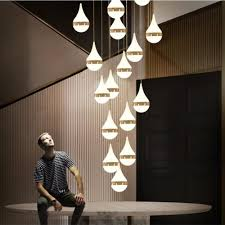 dutti d0011 led pendant light long staircase lamp post modern rotary crystal chandelier duplex villa lamp