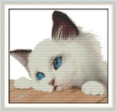 Cross Stitching Patterns Awesome Blue Cat Counted Printed On Fabric DMC 48CT 48CT Cross Stitch Kits