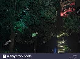 Rope Lights Game Beer Garden Trees At Night Illuminated By Lamps Lampions