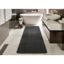 Ottomanson Solid Design Gray 2 Ft 2 In X 8 Ft Non Slip Bathroom Rug Runner Sft870013 2x8 The Home Depot