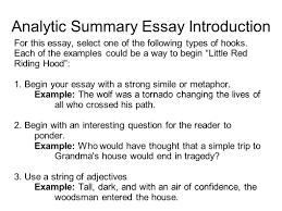essay hook examples custom writing at descriptive essay for th  analytic summary essay introduction for this essay select one of the following types of hooks