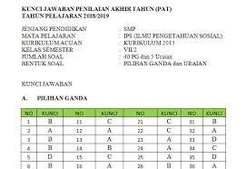 Ips (kelas 7) & sejarah (kelas 10). Soal Dan Kunci Jawaban Pat Smp Kelas 7 Kurikulum 2013 Semua Mata Pelajaran Tahun 2019 Mgmp Ips Indramayu