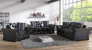 farrow 3 2 seater sofa armchair black grey fabric leather look foam seats
