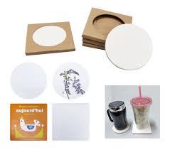 ceramic coaster with indivdual kraft paper box