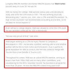 Embedded in this CPA update is the story of Walt Kofski. Because it's not  obvious where it is, I've taken the liberty of highlighting the relevant  sections:
