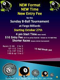 Sunday 8 Ball Tournament Fargo Billiards