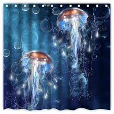 glow in the dark fabric curtains jellyfish shower curtain cool