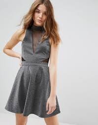 New Look Mesh Insert Metallic Skater Dress In Metallic Lyst