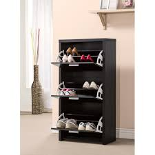 interior, Opulent Concept Of Nice Covered Shoe Rack Made Of Wooden Material  In Black Color