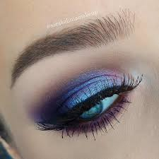 blue and purple eye makeup look for blue eyes