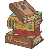 stack of old books stack of four old books hand drawn vector ilration