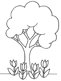 Small Picture Coloring page is a good pattern or template of tree and flowers