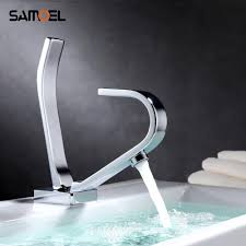 Designer Taps For Wash Basin Us 74 99 25 Off Basin Faucets Modern Square Plate Bathroom Mixer Tap Brass Washbasin Faucet Special Design Faucet With Flat Spout 1185c In Basin