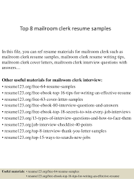 Mailroom Clerk Sample Resume