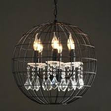 cage light chandelier industrial 6 light chandelier with metal cage frame and crystal decoration industrial cage