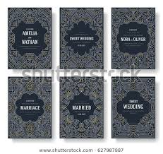 wedding book cover template thin line art set outline template stock vector royalty free