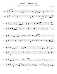 Nessun Dorma Duo Sheet music for Violin (String Duet)