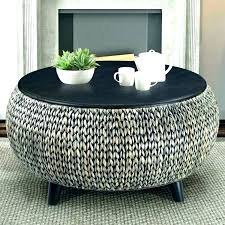 round wicker coffee table with storage ottoman