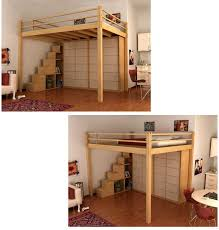 lots of ideas loft bed with container steps this is what i want but would have a desk and more book shelves underneath build one for a full size bed