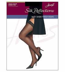 Hanes Thigh Highs Size Chart Details About Hanes Silk Reflections Sandalfoot Jet Black Thigh High Stockings Size Ef