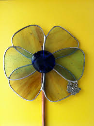 stained glass flower garden stake or flower pot stake suncatchers flower garden stained glass