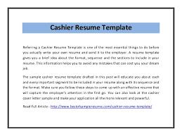 Cashier Resume Template Pdf