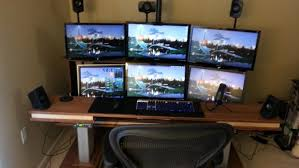 computer table monitor computer desk show your lcds setups page regarding awesome household 3 monitor computer desk designs