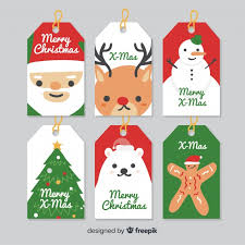 Christmas Labels Plain Characters Collection Vector Free