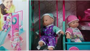 Twin Baby Dolls Playing with a Slide and Swing Set Pretend Play ...