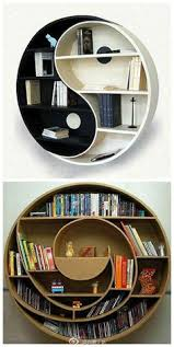 Unique Bookcase : Cardboard Yin Yang Bookshelf by Eric Guiomar