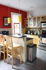 Small Kitchen Countertop Modern Small Kitchen With Red Wall Decor Wooden Bar Stool Black