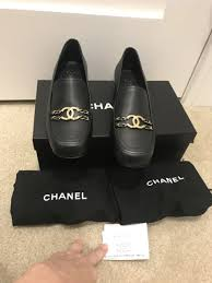 chanel calfskin chain link black cc logo leather loafers size 10 5 40 5 nwb 800