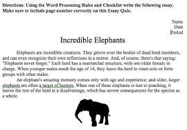 edmodo spotlight  word processing incredible elephant short essay quiz