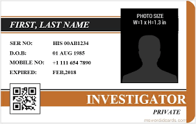 Make Your Own Identification Card 5 Best Investigator Id Card Templates Ms Word Microsoft