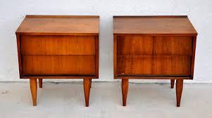 pair of mid century modern nightstands