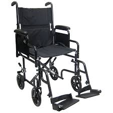 karman 19 inch steel transport chair with removable armrests 29lbs black