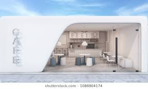 restaurant exterior drawing. Simple Drawing Front View Cafe Shop U0026 Restaurant Modern Design White Curved  Wallconcrete Floor For Exterior Drawing
