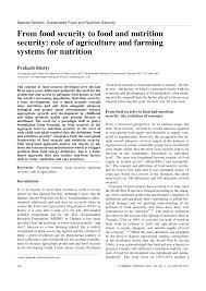 pdf special section susnable food and nutrition security from food security to food and nutrition security role of agriculture and farming systems