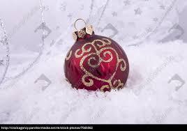 Stock Bild 7565062 Rote Und Goldene Weihnachtskugeln Christbaumschmuck Auf